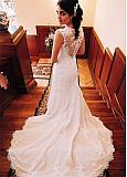 Winsome Tulle Jewel Neckline Mermaid Wedding Dresses With Beadings & Lace Appliques