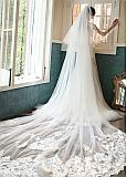 In Stock Fashionable Two-layer Cathedral Wedding Veil With Lace Appliques & Comb
