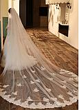In Stock Fantastic Two-layer Tulle Cathedral Wedding Veil With Lace Appliques