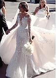 Stunning Tulle Jewel Neckline 2 In 1 Wedding Dresses With Beaded Embroidery & 3D Flowers & Detachable Train