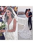 Stunning Tulle V-neck Neckline Mermaid Wedding Dress With Beaded Lace Appliques & Detachable Belt