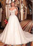 Charming Tulle Off-the-shoulder Neckline Ball Gown Wedding Dress With Beadings