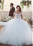 Fantastic Tulle & Lace Off-the-shoulder Neckline Ball Gown Wedding Dresses With Beaded Lace Appliques