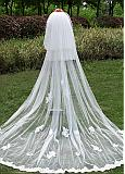 In Stock Beautiful Tulle Wedding Veil With Lace Appliques & Comb