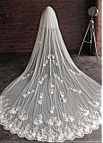 In Stock Delicate Ivory Tulle Two-tier Wedding Veils With Lace Appliques & 3D Flowers & Comb