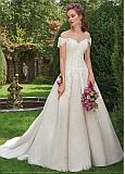 Stunning Tulle & Lace Off-the-shoulder Neckline A-line Wedding Dress With Lace Appliques